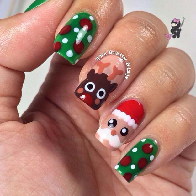 Cool DIY Nail Art Designs and Patterns for Christmas and Holidays - DIY Santa and Rudolph Reindeer Nails - Do It Yourself Manicure Ideas With Christmas Trees, Candy Canes, Snowflakes and Glittery Designs for Holiday Nails - Step by Step Tutorials and Instructions http://diyprojectsforteens.com/holiday-nail-art-patterns/