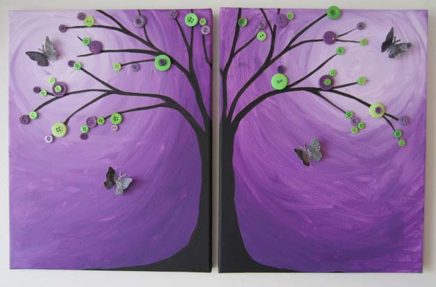 DIY Purple Room Decor - DIY Butterflied Button Branch - Best Bedroom Ideas and Projects in Purple - Cool Accessories, Crafts, Wall Art, Lamps, Rugs, Pillows for Adults, Teen and Girls Room