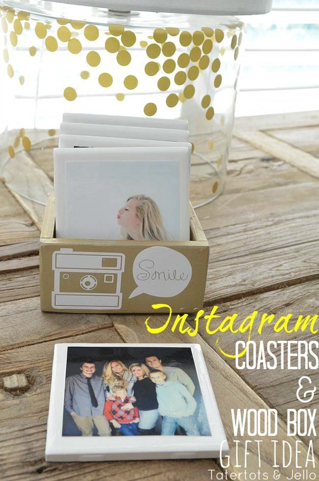 DIY Christmas Presents To Make For Parents - DIY Instagram Coasters in Custom Box - Cute, Easy and Cheap Crafts and Gift Ideas for Mom and Dad - Awesome Things to Make for Mothers and Fathers - Dollar Store Crafts and Cool Things to Make on A Budger for the Holidays - DIY Projects for Teens #diygifts #diyteens #teengifts #teencrafts #christmasgifts