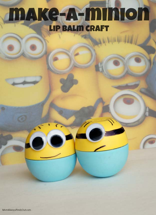 Best DIY EOS Projects - DIY Minion Lip Balm - Turn Old EOS Containers Into Cool Crafts Ideas Like Lip Balm, Galaxy, Gumball Machine, and Watermelon - Fun, Cheap and Easy DIY Projects Tutorials and Videos for Teens, Tweens, Kids and Adults s