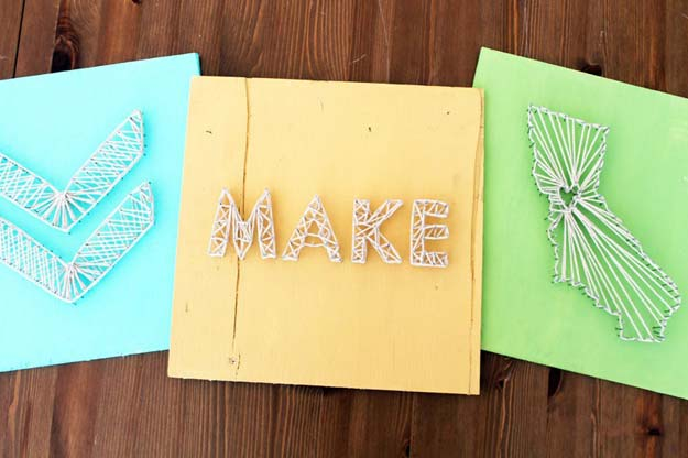 DIY Wall Art Ideas for Teen Rooms - DIY Nail String Art - Cheap and Easy Wall Art Projects for Teenagers - Girls and Boys Crafts for Walls in Bedrooms - Fun Home Decor on A Budget - Cool Canvas Art, Paintings and DIY Projects for Teens http://diyprojectsforteens.com/diy-wall-art-teens