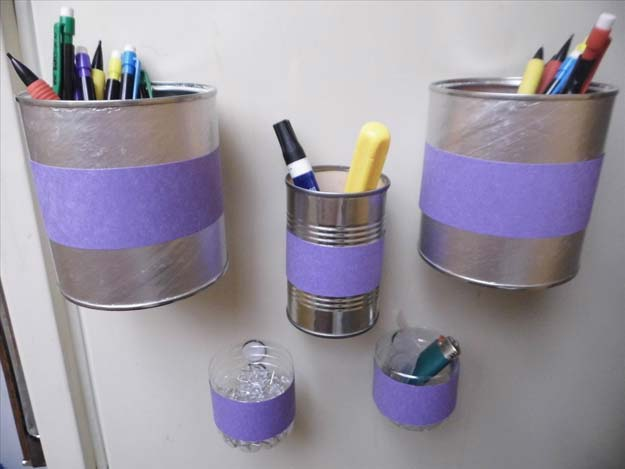 DIY Purple Room Decor - DIY Magnetic Bins - Best Bedroom Ideas and Projects in Purple - Cool Accessories, Crafts, Wall Art, Lamps, Rugs, Pillows for Adults, Teen and Girls Room