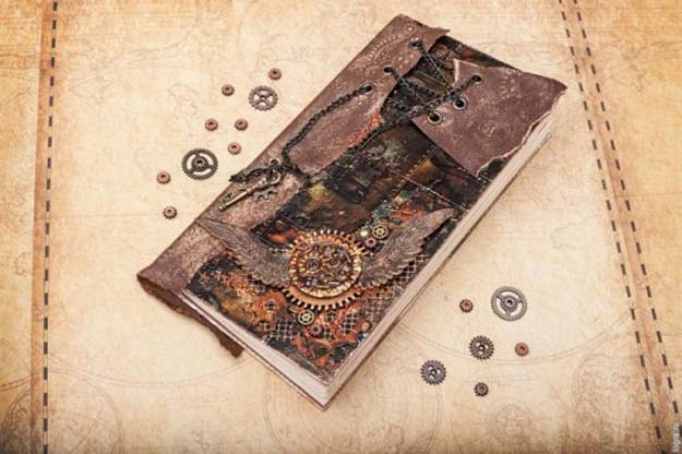 Cool Steampunk DIY Ideas - DIY Steampunk Notebook - Easy Home Decor, Costume Ideas, Jewelry, Crafts, Furniture and Steampunk Fashion Tutorials - Clothes, Accessories and Best Step by Step Tutorials - Creative DIY Projects for Adults, Teens and Tweens