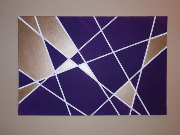 DIY Purple Room Decor - DIY Geometric Wall Art - Best Bedroom Ideas and Projects in Purple - Cool Accessories, Crafts, Wall Art, Lamps, Rugs, Pillows for Adults, Teen and Girls Room
