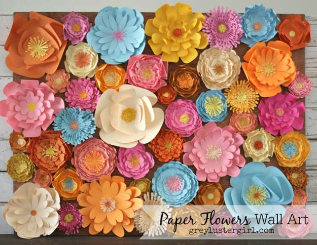 DIY Wall Art Ideas for Teen Rooms - DIY Paper Flowers Wall Art - Cheap and Easy Wall Art Projects for Teenagers - Girls and Boys Crafts for Walls in Bedrooms - Fun Home Decor on A Budget - Cool Canvas Art, Paintings and DIY Projects for Teens