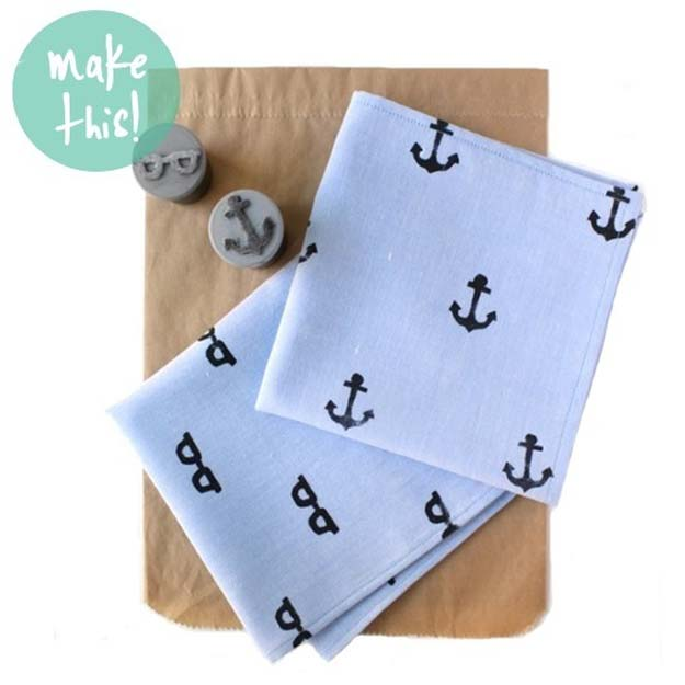 Cool DIY Gifts to Make For Your Boyfriend - DIY Hand Stamped Handkerchief - Easy, Cheap and Awesome Gift Ideas to Make for Guys - Fun Crafts and Presents to Give to Boyfriends - Men Love These Gift Card Holders, Mason Jar Kits, Thoughtful Handmade Christmas Gifts - DIY Projects for Teens #diygifts #teencrafts