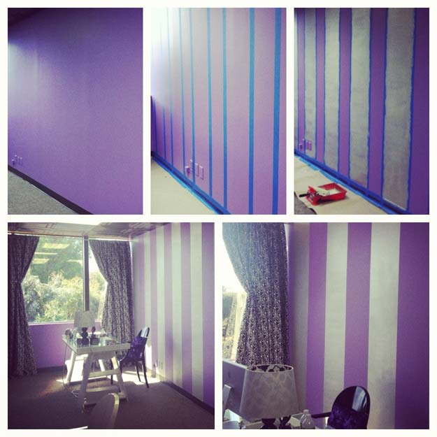 DIY Purple Room Decor - DIY Stripes on a Wall - Best Bedroom Ideas and Projects in Purple - Cool Accessories, Crafts, Wall Art, Lamps, Rugs, Pillows for Adults, Teen and Girls Room