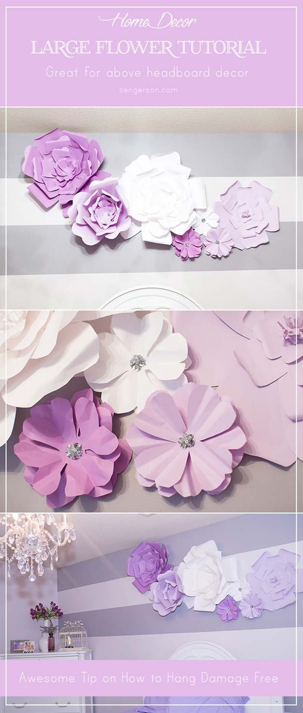 26 fabulously purple diy room decor ideas diy projects for teens - Flower wall designs for a bedroom ...