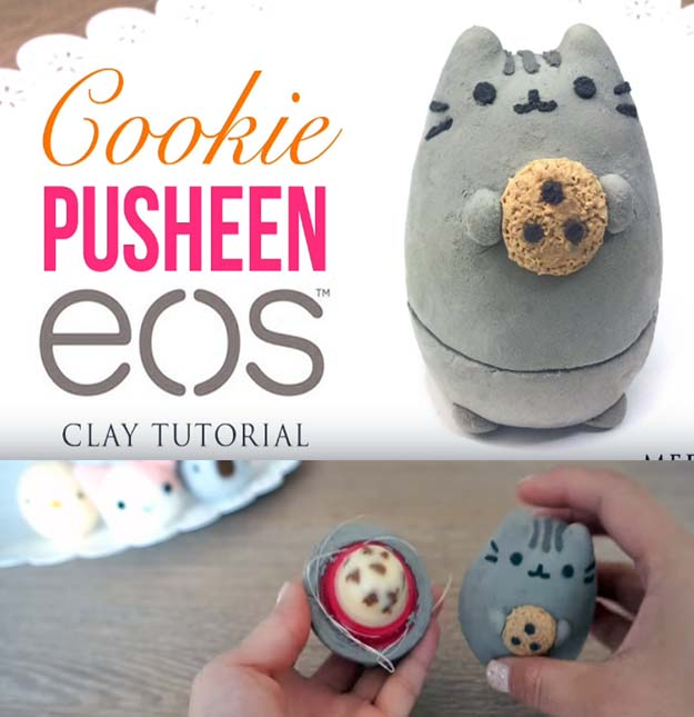 Best DIY EOS Projects - DIY Pusheen Cat & Cookie - Turn Old EOS Containers Into Cool Crafts Ideas Like Lip Balm, Galaxy, Gumball Machine, and Watermelon - Fun, Cheap and Easy DIY Projects Tutorials and Videos for Teens, Tweens, Kids and Adults s