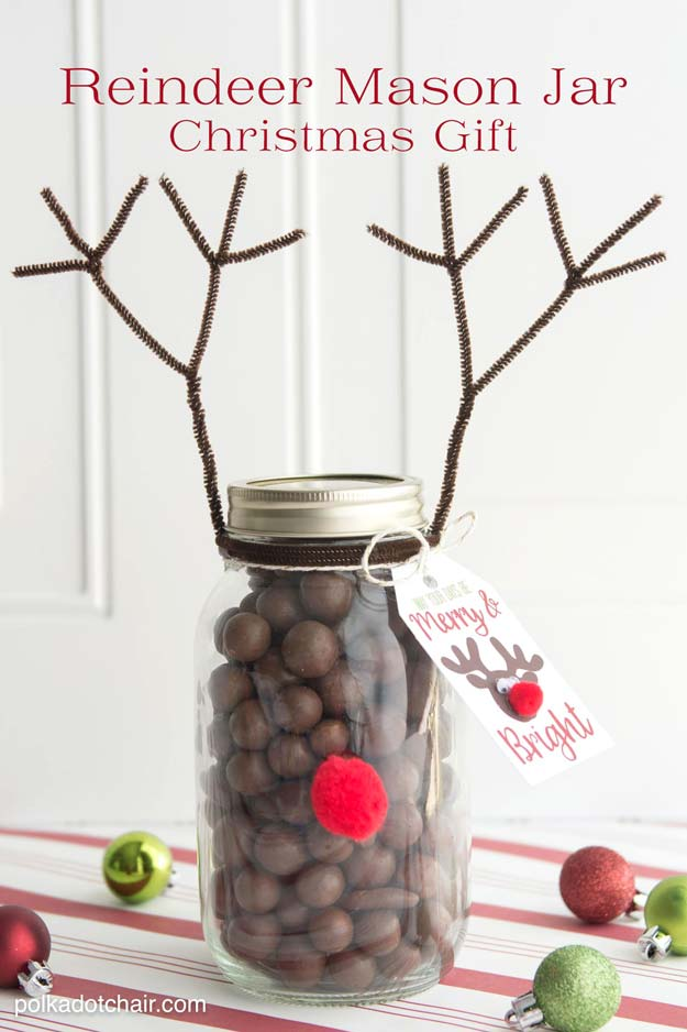 Mason Jar Craft Ideas For Christmas Part - 22: Cute DIY Mason Jar Gift Ideas For Teens - DIY Reindeer Christmas Mason Jar  - Best