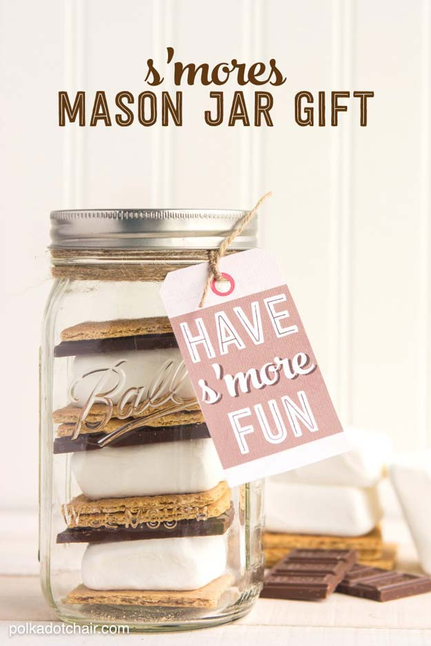 Cute DIY Mason Jar Gift Ideas for Teens - DIY S'mores Mason Jar - Best Christmas Presents, Birthday Gifts and Cool Room Decor Ideas for Girls and Boy Teenagers - Fun Crafts and DIY Projects for Snow Globes, Dollar Store Crafts and Valentines for Kids
