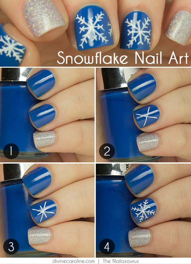Cool DIY Nail Art Designs and Patterns for Christmas and Holidays - DIY Snowflake Design - Do It Yourself Manicure Ideas With Christmas Trees, Candy Canes, Snowflakes and Glittery Designs for Holiday Nails - Step by Step Tutorials and Instructions http://diyprojectsforteens.com/holiday-nail-art-patterns/