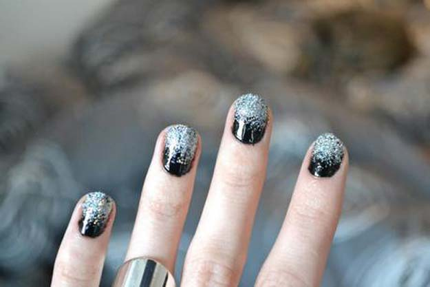 Cool DIY Nail Art Designs and Patterns for Christmas and Holidays -DIY Snowy Glitter Nails - Do It Yourself Manicure Ideas With Christmas Trees, Candy Canes, Snowflakes and Glittery Designs for Holiday Nails - Step by Step Tutorials and Instructions http://diyprojectsforteens.com/holiday-nail-art-patterns/