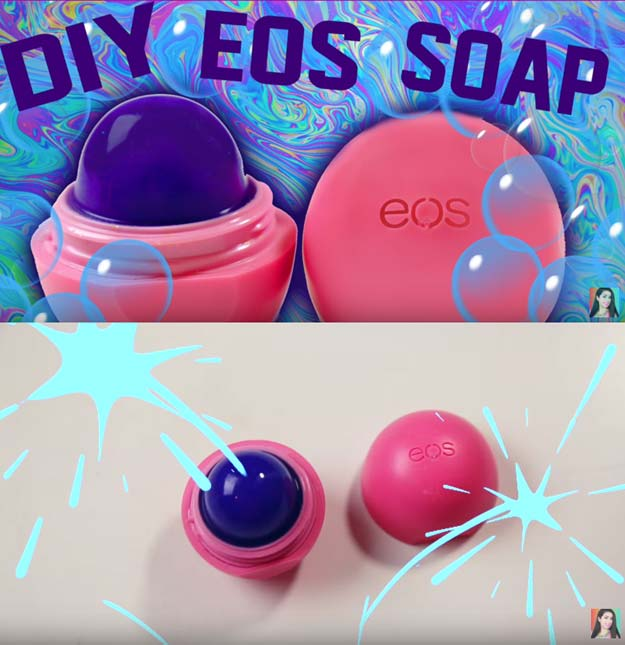 Best DIY EOS Projects - DIY EOS Soap - Turn Old EOS Containers Into Cool Crafts Ideas Like Lip Balm, Galaxy, Gumball Machine, and Watermelon - Fun, Cheap and Easy DIY Projects Tutorials and Videos for Teens, Tweens, Kids and Adults s