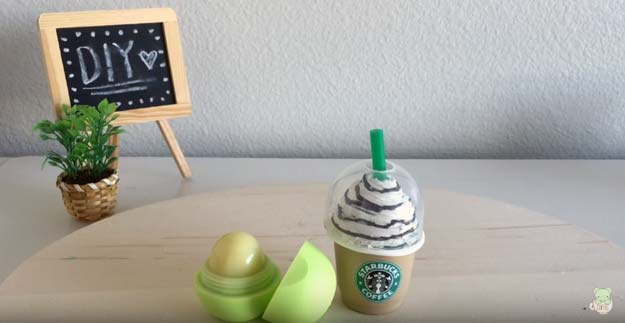 Best DIY EOS Projects - DIY Starbucks EOS Lip balm Container - Turn Old EOS Containers Into Cool Crafts Ideas Like Lip Balm, Galaxy, Gumball Machine, and Watermelon - Fun, Cheap and Easy DIY Projects Tutorials and Videos for Teens, Tweens, Kids and Adults http://diyprojectsforteens.com/diy-eos-projects