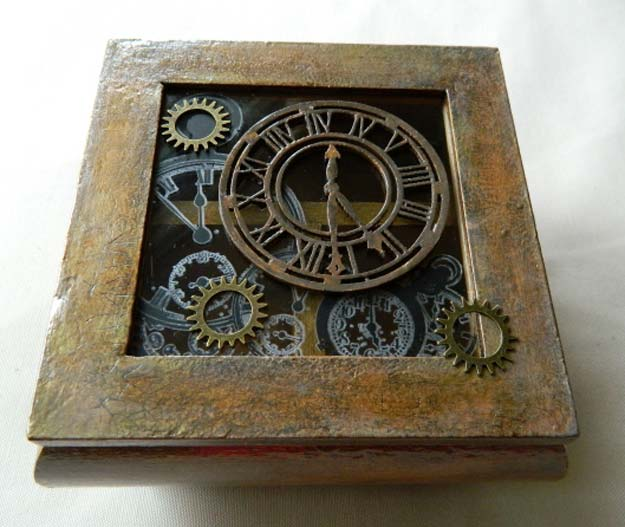 Cool Steampunk DIY Ideas - DIY Steampunk Box - Easy Home Decor, Costume Ideas, Jewelry, Crafts, Furniture and Steampunk Fashion Tutorials - Clothes, Accessories and Best Step by Step Tutorials - Creative DIY Projects for Adults, Teens and Tweens