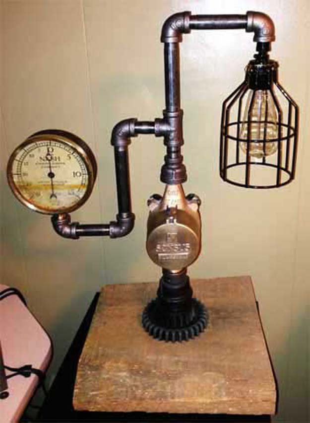 Cool Steampunk DIY Ideas - DIY Steampunk Lamp - Easy Home Decor, Costume Ideas, Jewelry, Crafts, Furniture and Steampunk Fashion Tutorials - Clothes, Accessories and Best Step by Step Tutorials - Creative DIY Projects for Adults, Teens and Tweens