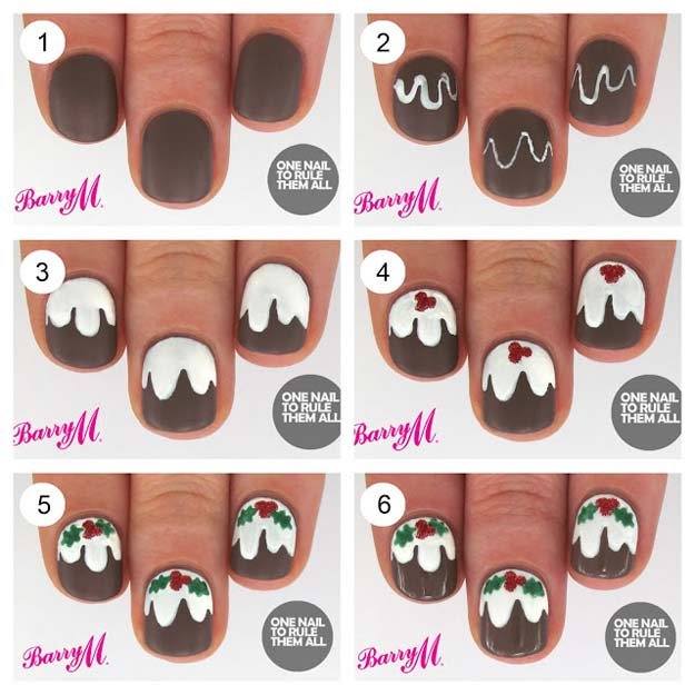 Cool DIY Nail Art Designs and Patterns for Christmas and Holidays -DIY Christmas Pudding Nails - Do It Yourself Manicure Ideas With Christmas Trees, Candy Canes, Snowflakes and Glittery Designs for Holiday Nails - Step by Step Tutorials and Instructions http://diyprojectsforteens.com/holiday-nail-art-patterns/