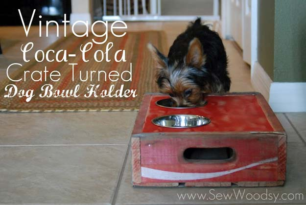 DIY Projects for Your Pet - Rustic Vintage Crate Dog Bowl Holder - Chews Recipe and Tutorial- Cat and Dog Beds, Treats, Collars and Easy Crafts to Make for Toys - Homemade Dog Biscuits, Food and Treats - Fun Ideas for Teen, Tweens and Adults to Make for Pets http://diyprojectsforteens.com/diy-projects-pets