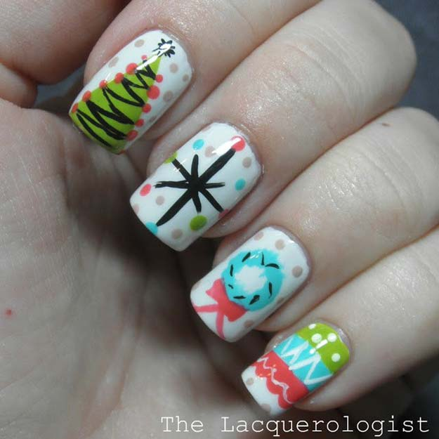 Cool DIY Nail Art Designs and Patterns for Christmas and Holidays - DIY Vintage Christmas Party - Do It Yourself Manicure Ideas With Christmas Trees, Candy Canes, Snowflakes and Glittery Designs for Holiday Nails - Step by Step Tutorials and Instructions http://diyprojectsforteens.com/holiday-nail-art-patterns/