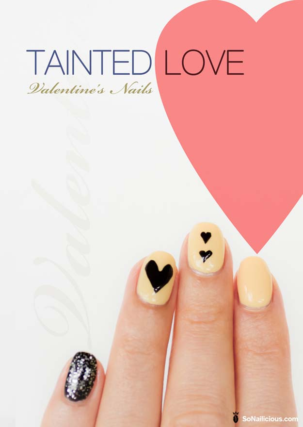 Valentine Nail Art Ideas - 'Tainted Love' Valentine's Day Nails - Cute and Cool Looks For Valentines Day Nails - Hearts, Gradients, Red, Black and Pink Designs - Easy Ideas for DIY Manicures with Step by Step Tutorials - Fun Ideas for Teens, Teenagers and Women http://diyprojectsforteens.com/valentine-nail-art-ideas