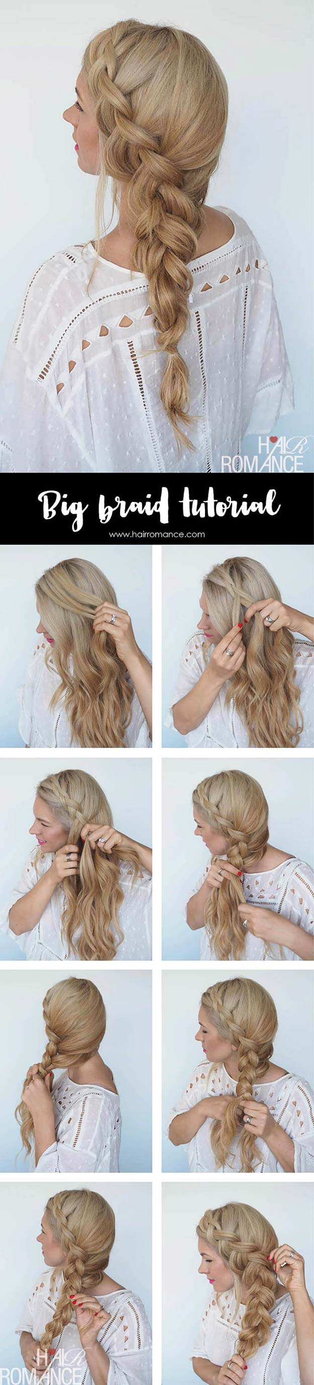 Best Hair Braiding Tutorials - Big Braid + Instant Mermaid Hair Tutorial - Easy Step by Step Tutorials for Braids - How To Braid Fishtail, French Braids, Flower Crown, Side Braids, Cornrows, Updos - Cool Braided Hairstyles for Girls, Teens and Women - School, Day and Evening, Boho, Casual and Formal Looks #hairstyles #braiding #braidingtutorials #diyhair
