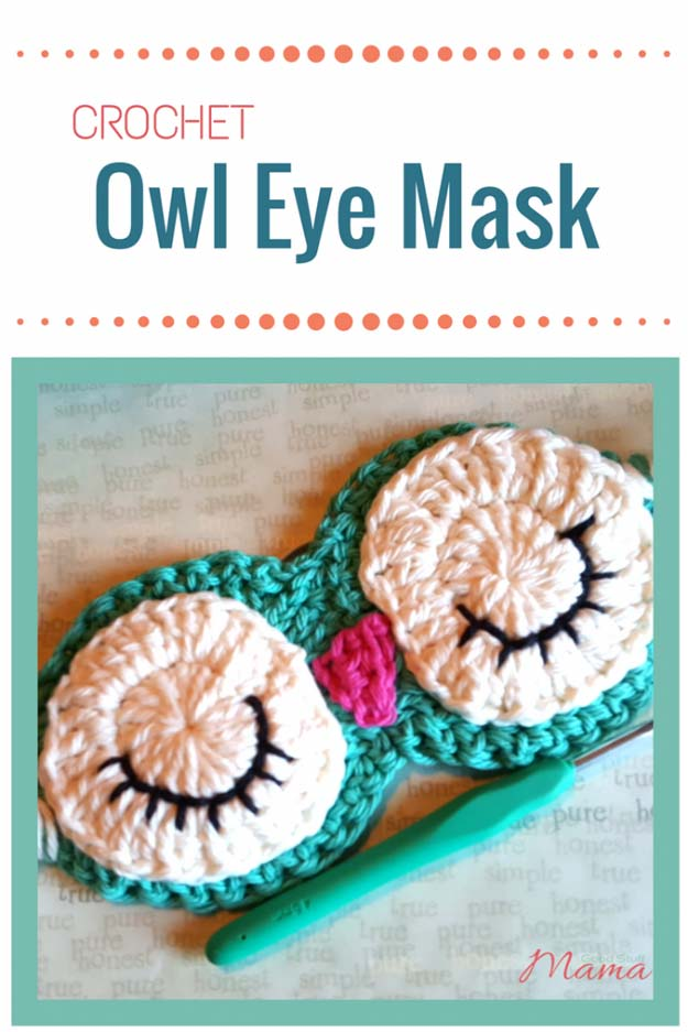 Crochet Patterns and Projects for Teens - Crochet Owl Eye Mask - Best Free Patterns and Tutorials for Crocheting Cute DIY Gifts, Room Decor and Accessories - How To for Beginners - Learn How To Make a Headband, Scarf, Hat, Animals and Clothes DIY Projects and Crafts for Teenagers #crochet #crafts #teencrafts #freecrochet #crochetpatterns