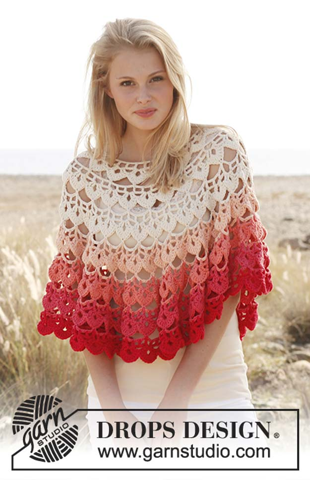 "Crochet Patterns and Projects for Teens - Crochet DROPS poncho in ""Paris"" - Best Free Patterns and Tutorials for Crocheting Cute DIY Gifts, Room Decor and Accessories - How To for Beginners - Learn How To Make a Headband, Scarf, Hat, Animals and Clothes DIY Projects and Crafts for Teenagers #crochet #crafts #teencrafts #freecrochet #crochetpatterns"