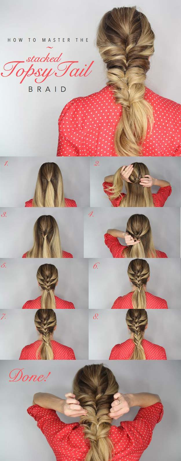 Best Hair Braiding Tutorials - Topsy Tail Braid - Easy Step by Step Tutorials for Braids - How To Braid Fishtail, French Braids, Flower Crown, Side Braids, Cornrows, Updos - Cool Braided Hairstyles for Girls, Teens and Women - School, Day and Evening, Boho, Casual and Formal Looks #hairstyles #braiding #braidingtutorials #diyhair