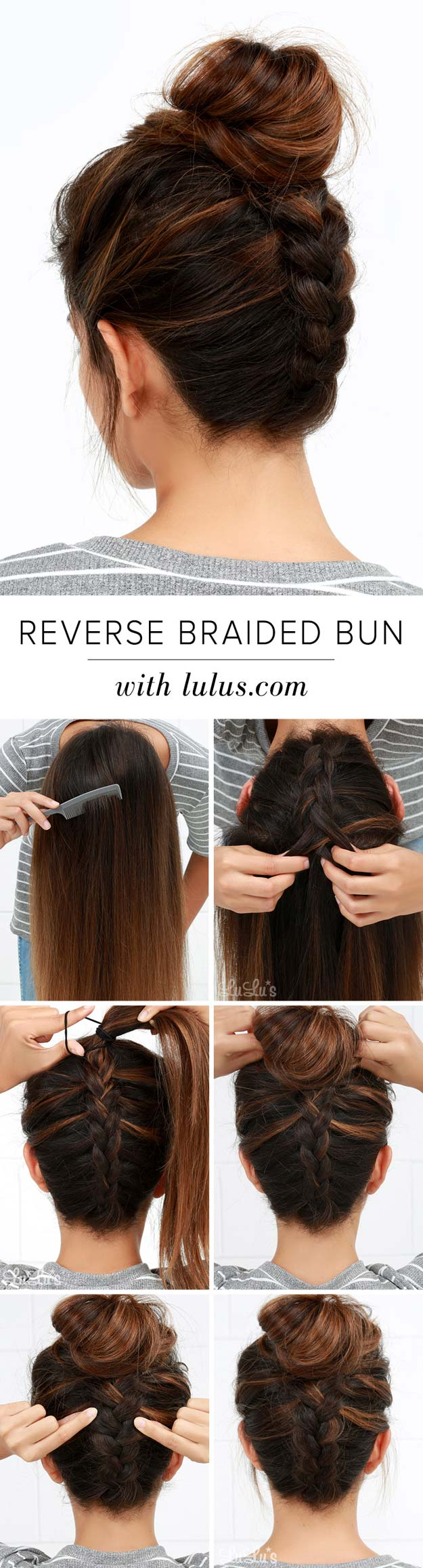 Best Hair Braiding Tutorials - Reverse Braided Bun Hair Tutorial - Easy Step by Step Tutorials for Braids - How To Braid Fishtail, French Braids, Flower Crown, Side Braids, Cornrows, Updos - Cool Braided Hairstyles for Girls, Teens and Women - School, Day and Evening, Boho, Casual and Formal Looks #hairstyles #braiding #braidingtutorials #diyhair