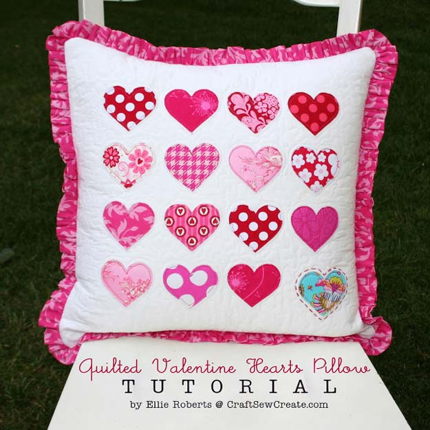 DIY Valentine Decor Ideas - Quilted Valentine Hearts Pillow Tutorial - Cute and Easy Home Decor Projects for Valentines Day Decorating - Best Homemade Valentine Decorations for Home, Tables and Party, Kids and Outdoor - Romantic Vintage Ideas - Cheap Dollar Store and Dollar Tree Crafts