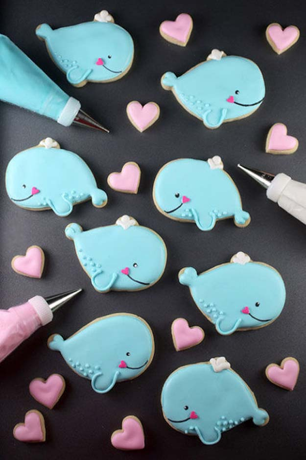 Best Valentines Cookies - Whale Cookie - Easy Cookie Recipes and Recipe Ideas for Valentines Day - Cute DIY Decorated Cookies for Kids, Homemade Box Cookies and Bouquet Ideas - Sugar Cookie Icing Tutorials With Step by Step Instructions - Quick, Cheap Valentine Gift Ideas for Him and Her http://diyprojectsforteens.com/valentine-cookie-recipes