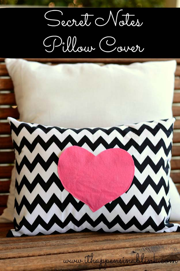 DIY Valentine Gifts - Secret Love Notes Envelope Pillow Cover - Creative Handmade Gifts and DIY Crafts for Valentines Day - Gifts for Her and Him, Teens, Teenagers and Tweens - Mason Jar Ideas, Homemade Cards, Cheap and Easy Gift Ideas for Valentine Presents http://diyprojectsforteens.com/diy-valentine-gifts