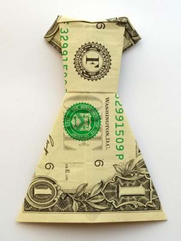 DIY Money Origami - Money Origami Dress - Step by Step Tutorials for Star, Flower, Heart, Buttlerfly, Animals. Tree, Letters, Bow and Boxes - Cute DIY Gift Ideas for Birthday and Christmas Cards - DIY Projects and Crafts for Teens http://diyprojectsforteens.com/diy-money-origami