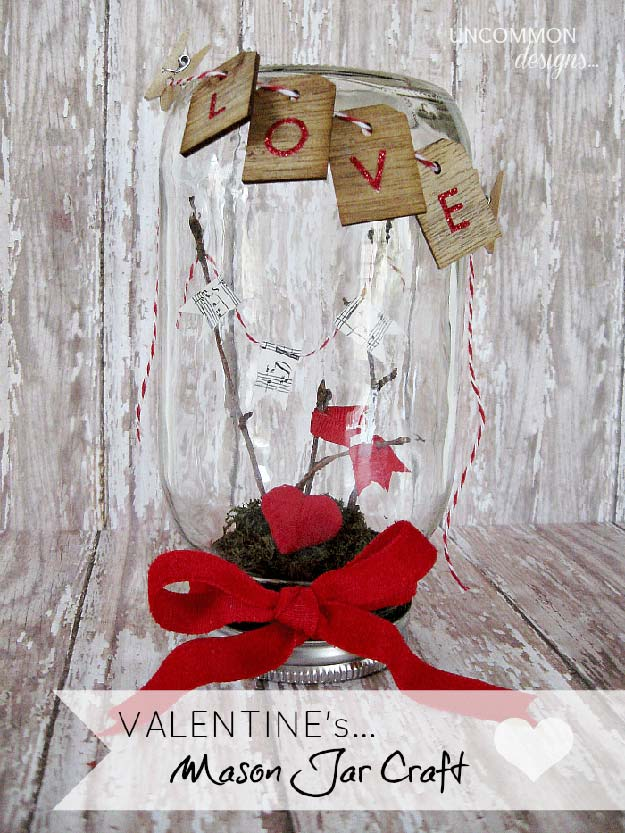 DIY Valentine Decor Ideas - Valentine Mason Jar Craft - Cute and Easy Home Decor Projects for Valentines Day Decorating - Best Homemade Valentine Decorations for Home, Tables and Party, Kids and Outdoor - Romantic Vintage Ideas - Cheap Dollar Store and Dollar Tree Crafts