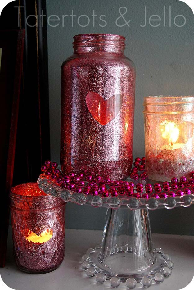 DIY Valentine Decor Ideas - Valentine Glitter Mason Jar Tutorial - Cute and Easy Home Decor Projects for Valentines Day Decorating - Best Homemade Valentine Decorations for Home, Tables and Party, Kids and Outdoor - Romantic Vintage Ideas - Cheap Dollar Store and Dollar Tree Crafts