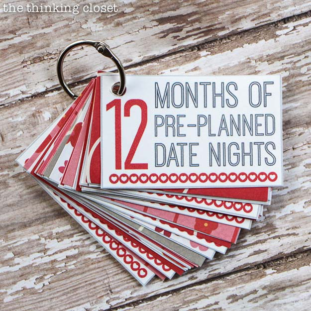 DIY Valentine Gifts - 12 Months of Date Nights Gift - Gifts for Her and Him, Teens, Teenagers and Tweens - Mason Jar Ideas, Homemade Cards, Cheap and Easy Gift Ideas for Valentine Presents http://diyprojectsforteens.com/diy-valentine-gifts
