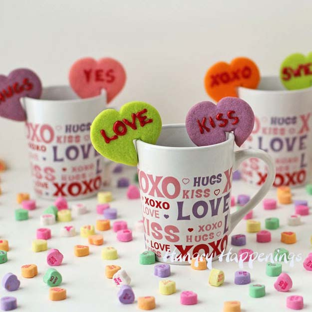 Best Valentines Cookies - Conversation Heart Mug Hug Cookies - Easy Cookie Recipes and Recipe Ideas for Valentines Day - Cute DIY Decorated Cookies for Kids, Homemade Box Cookies and Bouquet Ideas - Sugar Cookie Icing Tutorials With Step by Step Instructions - Quick, Cheap Valentine Gift Ideas for Him and Her http://diyprojectsforteens.com/valentine-cookie-recipes