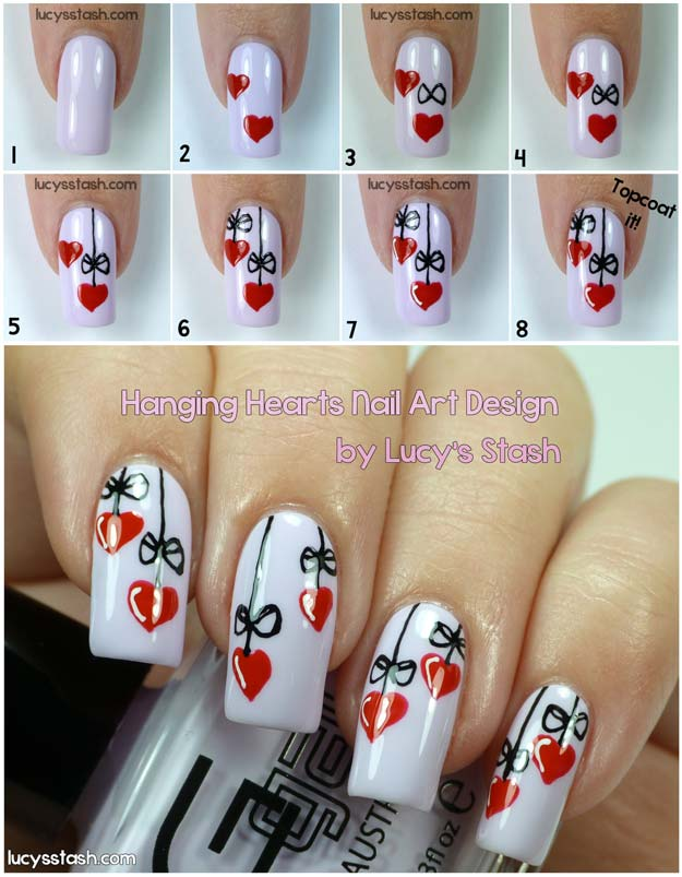 Valentine Nail Art Ideas - Hanging Hearts - Cute and Cool Looks For Valentines Day Nails - Hearts, Gradients, Red, Black and Pink Designs - Easy Ideas for DIY Manicures with Step by Step Tutorials - Fun Ideas for Teens, Teenagers and Women http://diyprojectsforteens.com/valentine-nail-art-ideas