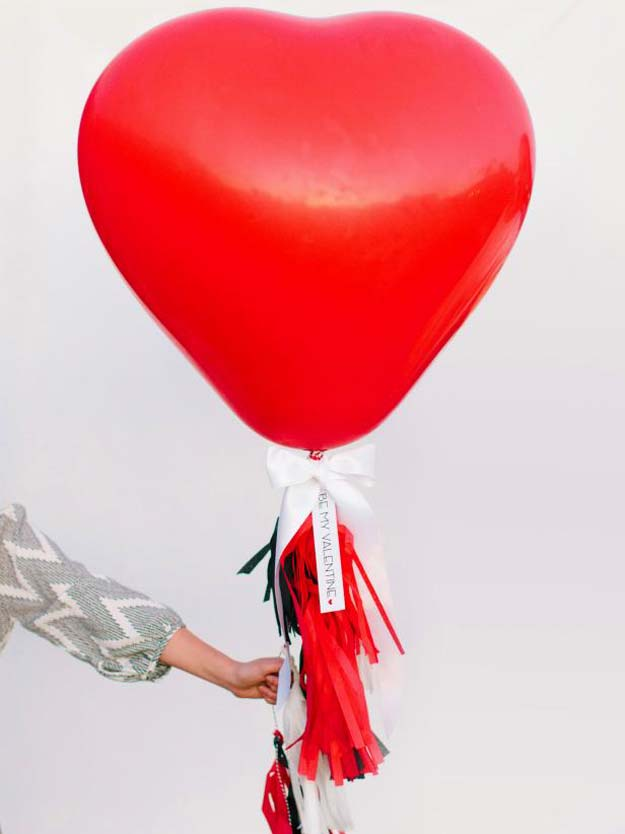 DIY Valentine Decor Ideas - Heart Balloon With Tissue Fringe Tassels - Cute and Easy Home Decor Projects for Valentines Day Decorating - Best Homemade Valentine Decorations for Home, Tables and Party, Kids and Outdoor - Romantic Vintage Ideas - Cheap Dollar Store and Dollar Tree Crafts