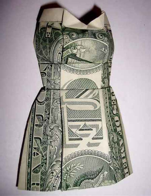 DIY Money Origami - Origami Dollar Bill 3d Mini Dress - Step by Step Tutorials for Star, Flower, Heart, Buttlerfly, Animals. Tree, Letters, Bow and Boxes - Cute DIY Gift Ideas for Birthday and Christmas Cards - DIY Projects and Crafts for Teens http://diyprojectsforteens.com/diy-money-origami