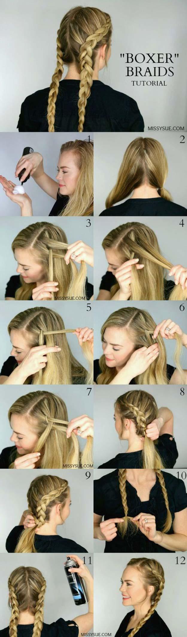 Best Hair Braiding Tutorials - Dutch Boxer Braids - Easy Step by Step Tutorials for Braids - How To Braid Fishtail, French Braids, Flower Crown, Side Braids, Cornrows, Updos - Cool Braided Hairstyles for Girls, Teens and Women - School, Day and Evening, Boho, Casual and Formal Looks #hairstyles #braiding #braidingtutorials #diyhair