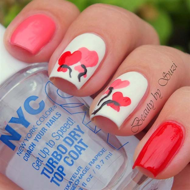 Valentine Nail Art Ideas - Anniversary Heart Design - Cute and Cool Looks For Valentines Day Nails - Hearts, Gradients, Red, Black and Pink Designs - Easy Ideas for DIY Manicures with Step by Step Tutorials - Fun Ideas for Teens, Teenagers and Women http://diyprojectsforteens.com/valentine-nail-art-ideas