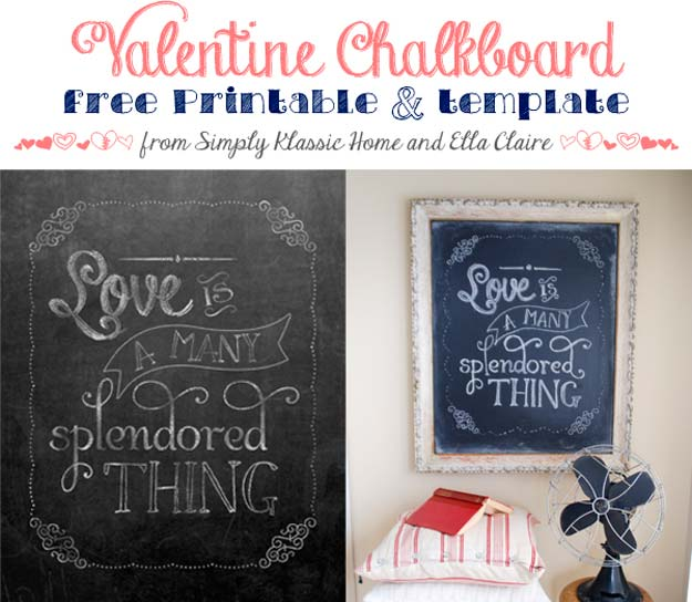 DIY Valentine Decor Ideas - Valentine Chalkboard Template and Free Printables - Cute and Easy Home Decor Projects for Valentines Day Decorating - Best Homemade Valentine Decorations for Home, Tables and Party, Kids and Outdoor - Romantic Vintage Ideas - Cheap Dollar Store and Dollar Tree Crafts