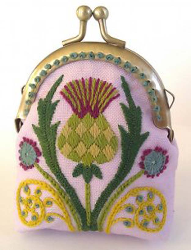 Cool Embroidery Projects for Teens - Step by Step Embroidery Tutorials - Thistle Coin Purse Crewel Embroidery Project - Awesome Embroidery Projects for Teenagers - Cool Embroidery Crafts for Girls - Creative Embroidery Designs - Best Embroidery Wall Art, Room Decor - Great Embroidery Gifts, Free Embroidery Patterns for Girls, Women and Tweens http://diyprojectsforteens.com/cool-embroidery-projects-teens