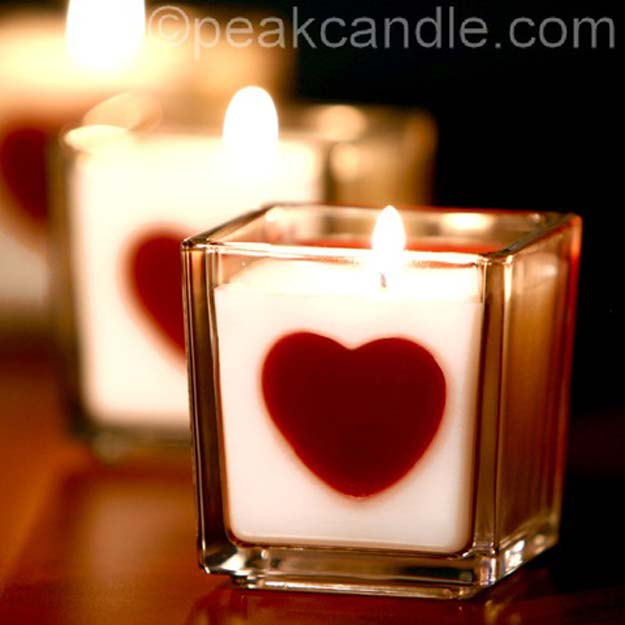 DIY Valentine Decor Ideas - Heart Embed Candles - Cute and Easy Home Decor Projects for Valentines Day Decorating - Best Homemade Valentine Decorations for Home, Tables and Party, Kids and Outdoor - Romantic Vintage Ideas - Cheap Dollar Store and Dollar Tree Crafts