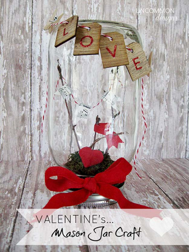 Best Mason Jar Valentine Crafts - Mason Love Jar Valentine's Day Setting - Cute Mason Jar Valentines Day Gifts and Crafts | Easy DIY Ideas for Valentines Day for Homemade Gift Giving and Room Decor | Creative Home Decor and Craft Projects for Teens, Teenagers, Kids and Adults http://diyprojectsforteens.com/mason-jar-valentine-crafts