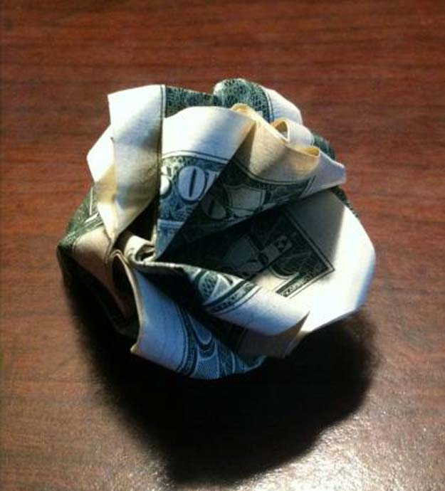 Money Origami Tutorials - How to Make Money Origami Ideas and Youtube Videos - How to Make A Rose With A Dollar Bill