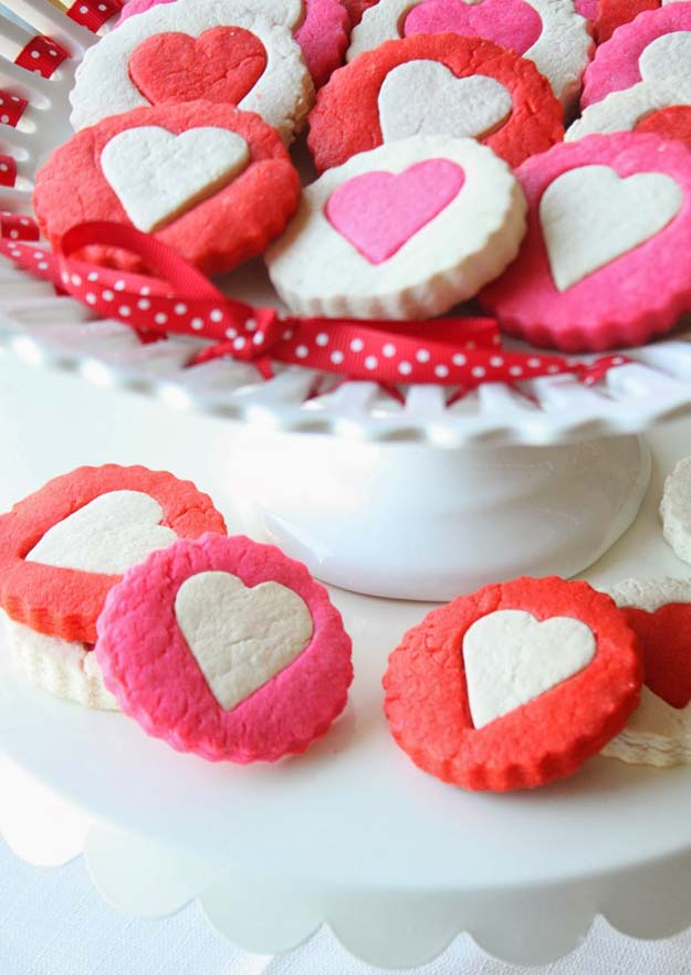 Best Valentines Cookies - Two-Tone Heart Cookies - Easy Cookie Recipes and Recipe Ideas for Valentines Day - Cute DIY Decorated Cookies for Kids, Homemade Box Cookies and Bouquet Ideas - Sugar Cookie Icing Tutorials With Step by Step Instructions - Quick, Cheap Valentine Gift Ideas for Him and Her http://diyprojectsforteens.com/valentine-cookie-recipes