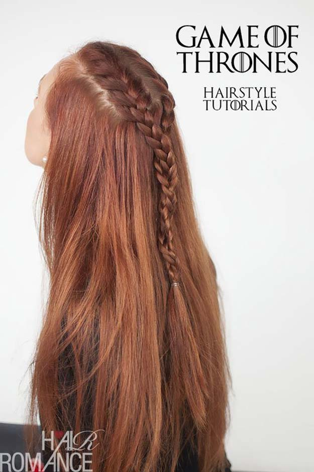 Best Hair Braiding Tutorials - Sansa Stark Braid Tutorial - Easy Step by Step Tutorials for Braids - How To Braid Fishtail, French Braids, Flower Crown, Side Braids, Cornrows, Updos - Cool Braided Hairstyles for Girls, Teens and Women - School, Day and Evening, Boho, Casual and Formal Looks #hairstyles #braiding #braidingtutorials #diyhair